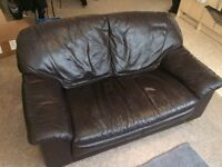 FREE Leather 2 Person Sofa, Leather Armchair and Glass Dinning Room Table with 6 Chairs