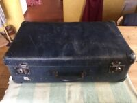 OLD BLUE RUSTIC SHABBY CHIC SUITCASE, GLOBE TROTTER BRITISH MADE CLASSIC.