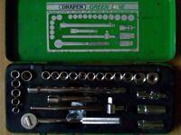 "Draper green line 1/2"" sq dr 25pc socket set"