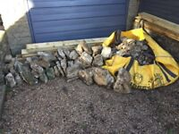 Local rubble stone, cock and hen copings + large hippo bag of hardcore - Frome - Free to collector