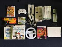 WII Console+Charging Dock+WII FIT+Mario Kart WII+WII Sports Resort+WII Nerf+WII Zumba Fitness+Games