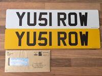 Private Number Plate Registration YU51 ROW (YUS I ROW) ROWING, ROWLAND, ROWAN, ROW etc