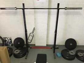 Bumper Plates, Olympic Bar and Squat Stand