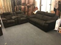 DFS TOULON BLACK FABRIC RECLINER THREE PIECE SUITE 3 SEATER SOFA AND 2 ARMCHAIRS PAIR CHEAP BARGAIN