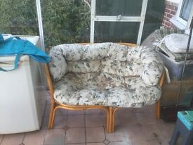 Cane conservatory furniture two single chairs and one double