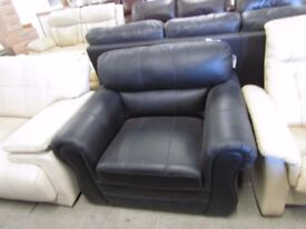 Black single static leather sofa