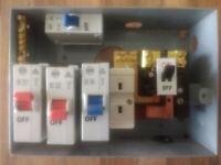 Wylex 4 way metal consumer unit with MCB circuit breakers