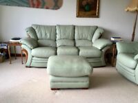 Leather Three Seater Sofa, Armchair and Footstool - Pale Green with wooden trim and feet