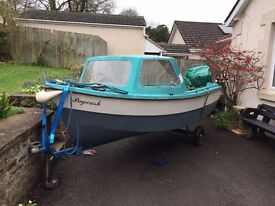 14ft Solar Jiffy fishing boat, Yamaha 9.9Hp outboard and trailer.