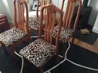 4 x solid wood dining table chairs