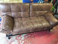 Sofa Bed - brown faux leather, great condition and comfortable too. Folds out to a double bed.