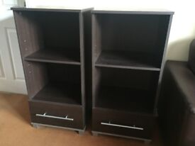 Two Shelf and Drawer Units. Dark Brown,