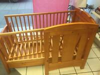 Toddler/Kids Solid Wood Cot Bed with Safety Rails.