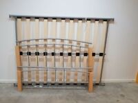 Stylish bedframe Silver and solid wood