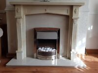 Stunning fireplace & electric fire with marble hearth and back