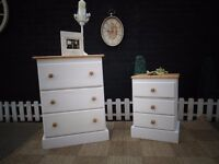 SOLID PINE FARMHOUSE TALL CHEST OF DRAWERS AND MATCHING BEDSIDE CABINET ALL SET FOR £90