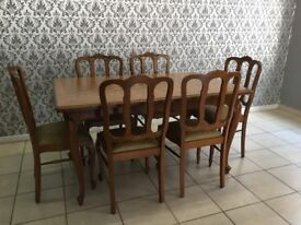 table and 6 chairs Oak Louis XV, French style