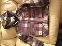 Quiksilver boys blue check hooded jacket age 10