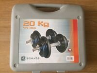 SET OF SOLID BAR DUMBELLS WITH CAST IRON WEIGHTS IN A CASE