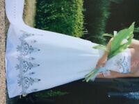 White wedding dress with embroidery