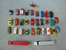 29 toy cars, mostly matchbox, some majorette and some disney + a box that becomes a road map.