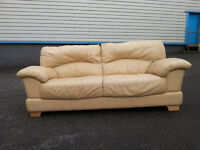 Cream 3 Seater Leather Forme Sofa Couch - DELIVERY AVAILABLE