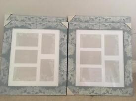 3x FLORAL ETCHED COLLAGE WALL PHOTO FRAMES