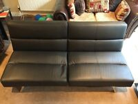 Black Faux Leather 2 Seater Sofa Bed
