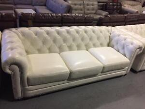 Top Grain Leather Tufted Sofa , Love Seat and Chair
