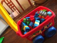 Large mix of Boys Bricks in trolley& My First Bricks