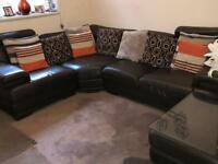 Leather corner suite sofa
