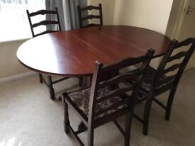 Solid wood extending dining table and 4 chairs
