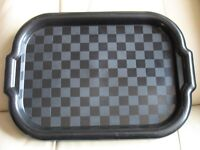 "SET OF FOUR - SNACK TRAYS with rim & handles - 15"" x 10"" Black, squares pattern, lightweight"
