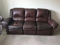 FREE!! 3 Piece Leather Suite With Reclining End Seats In Denton, Manchester