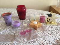 Purple Aromatherapy Burner (New) and a Selection of Candles