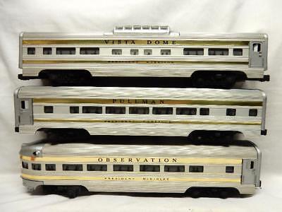 POSTWAR LIONEL PRESIDENTIAL PASSENGER TRAIN SET CARS 2521, 2522 AND 2523, C-7 EX