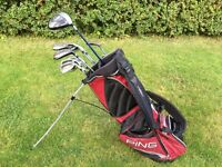 Titlest 822 OS DCI clubs plus Callaway Razer Driver, 2 rescues, Ping Zing putter with Ping Stand Bag