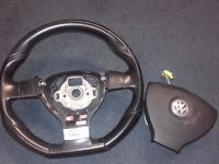 VW Golf MK5 V GTi D shape Flat Bottom Steering Wheel and Airbag DSG Flappy paddle change