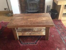 Reclaimed rustic coffee table with shelf