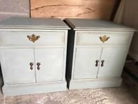 Up Cycled Vintage Solid Wood Bedside Cabinets/Cupboards