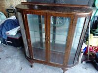 Display cabinet , glass / wood 1940's 50's