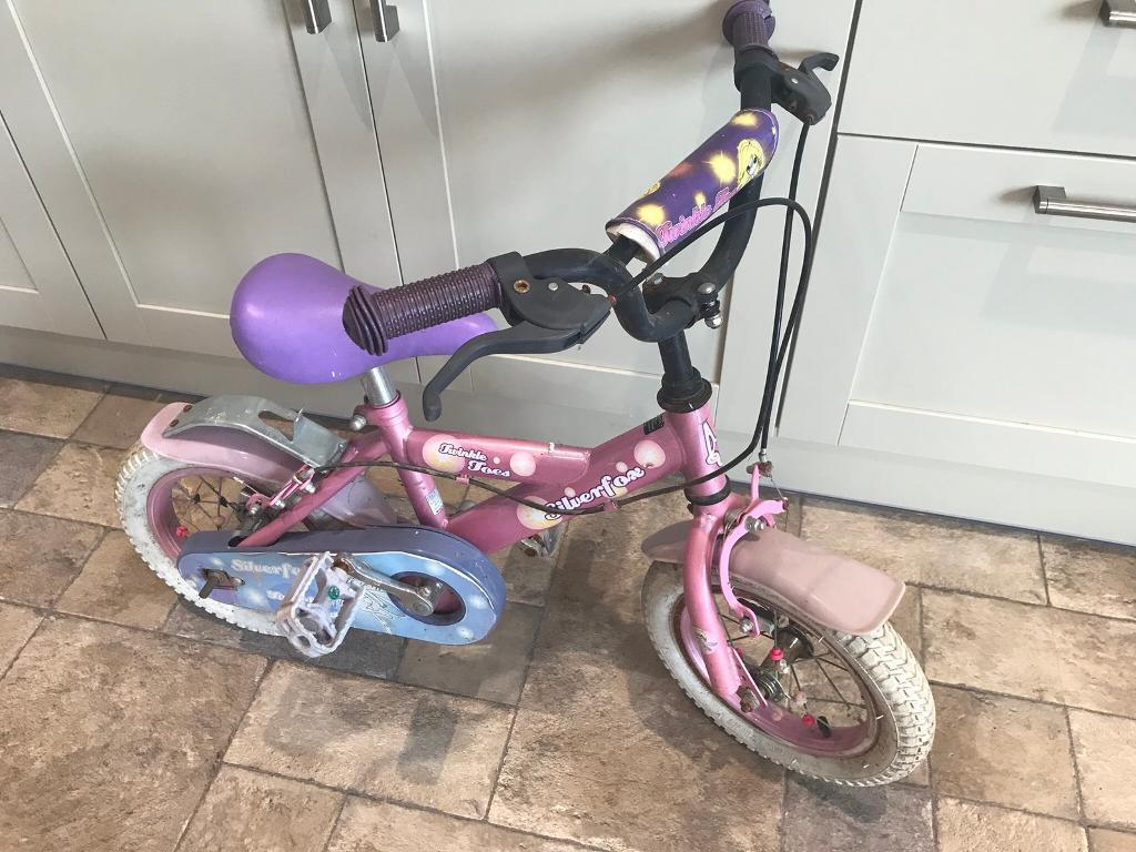 12 inch girls pink bike silverfox twinkle toes with stabilisers