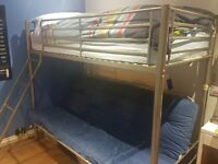 Metal Framed Bunk Bed with Futon