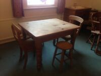 Wooden Table, Chair & Stool Set with drawer - think it's pine