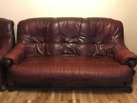 2x 3 Seater Real Leather & Wood Sofas