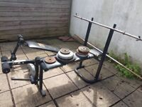 Weights, weights bench, 2 bars, EZ bar, AB training bench, Aprox 70KG weights.