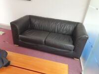 High Quality Black Leather Office reception visiting seating area 2 seater sofa, on wooden feet