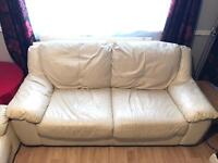 3 Seater leather sofa in ivory colour