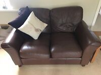 Brown leather sofa for sale. Near Baldock, Hertfordshire. £50 ono.