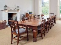 Antique Dining Table & 12 Chairs Victorian Mahogany 14 ft Table & Chippendale Chairs - FREE Delivery